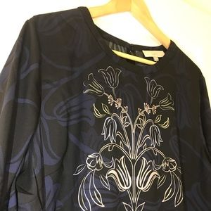 NWT LOFT Black/Multi Floral Fit & Flare